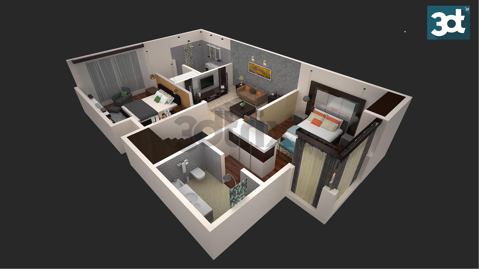 3d Interior Bird S Eye View 3dtrix